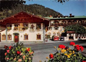 Wallgau Oberbayern, Lueftlmalerei am Gasthof Post Hotel Pension Auto Cars