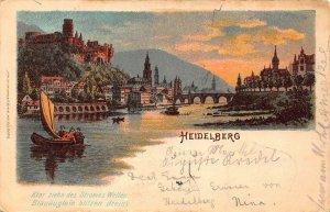 Heidelberg Schloss River Bridge Boats Castle Panorama Postcard