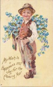 New Year Young Boy Carrying Bundle Of Blue Flowers
