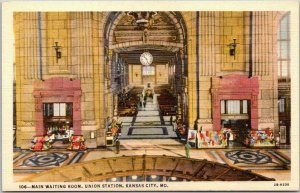 1940s KANSAS CITY, MO Postcard Waiting Room, UNION STATION Fred Harvey Linen