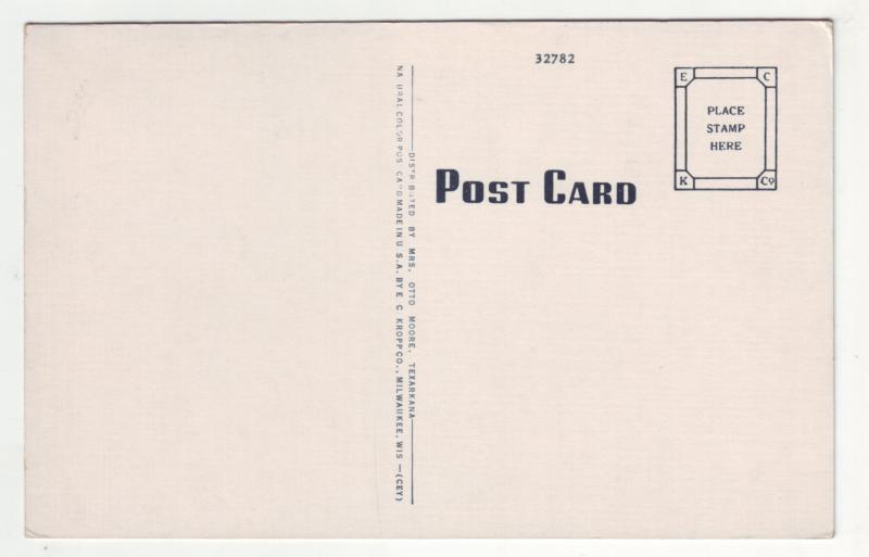 P1138 unused linen postcard divide line ave ark-tex texarkana many old cars etc