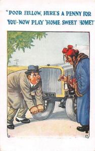 Poor fellow, here's a penny for you Auto Car Repair, Comic Motoring 1927