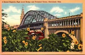 Ohio Cleveland Detroit Superior High Level Bridge and Terminal Tower