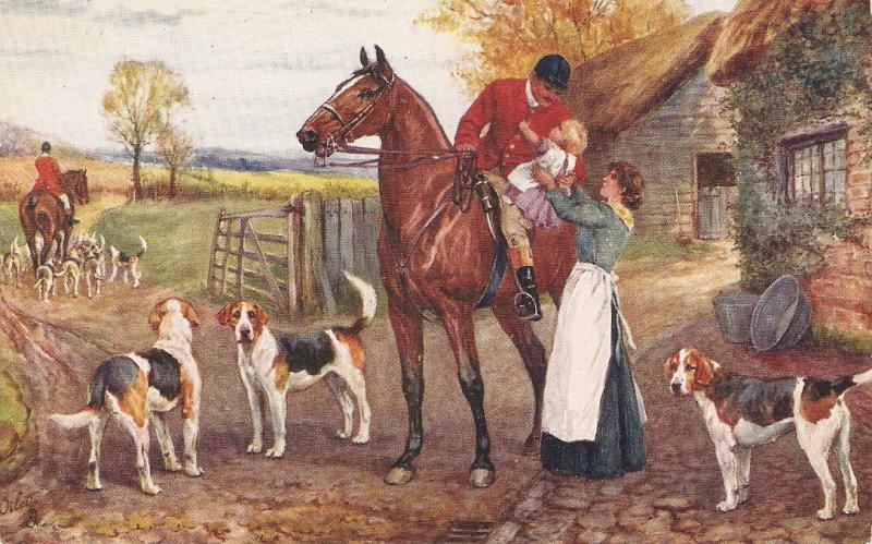 Norah Drummond. Horses. Dogs, The Hunt Day Tuck Oikette Oistcard # 9923