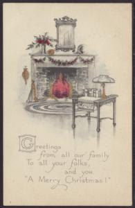 A Merry Christmas,Fireplace Postcard