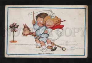 060451 Kids on HORSE Toy by WIEDERSEIM Drayton Vintage PC