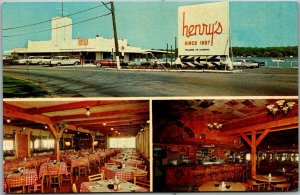Algonac, Michigan Postcard HENRY'S RESTAURANT Multi-View Roadside c1950s Unused