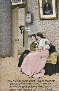 Bamforth Series No 1234 Romantic Couple On Couch 1911