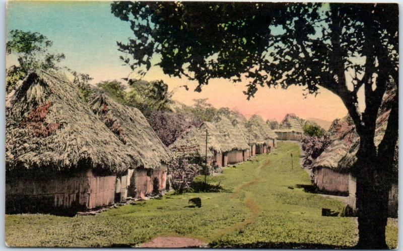 Arraijan, Panama Postcard Grass Huts Village - Sunny Scenes HAND-COLORED c1930s
