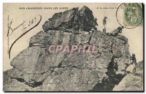 Old Postcard Militaria Alpine hunters in the Alps At the top of & # 39un collar