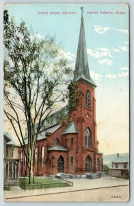 North Adams Massachusetts~Notre Dame Catholic Church~Homes Both Sides~1912 PC
