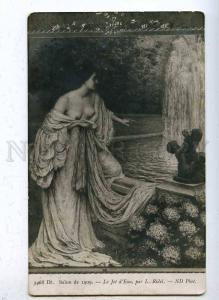 203553 NUDE Woman NYMPH Fountain by RIDEL Vintage SALON 1909
