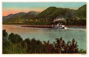 Kentucky Ohio River near Ashland KY & Ironton OH , Steamboat pushing barges