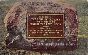 Tablet to Revolutionary Heros on Library Lawn - Lynn, Massachusetts MA