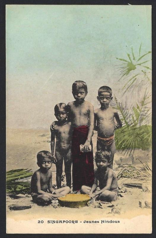 Singapore vintage color postcard Young Hindoos