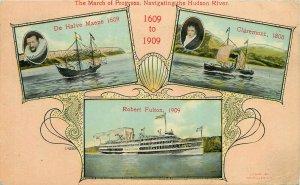 Hudson River navigation history Robert Fulton De Halve Maene Claremont ship 1909