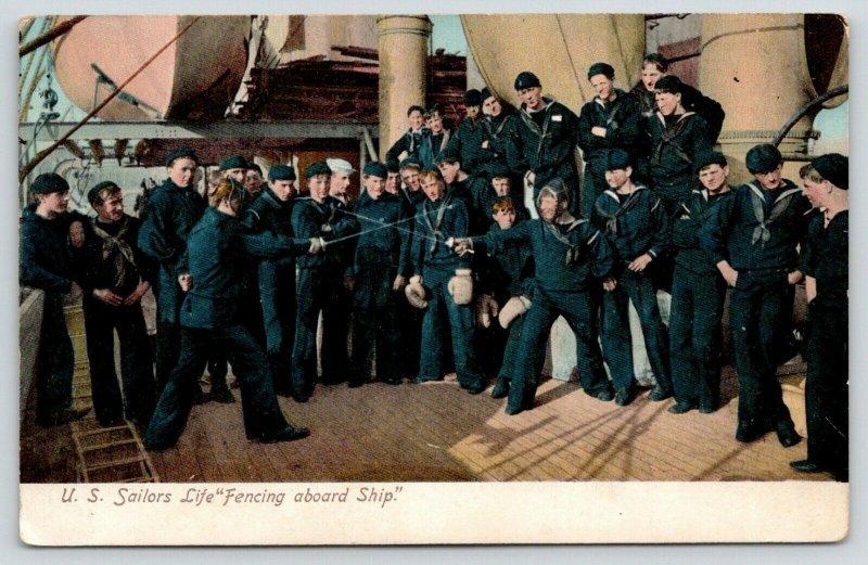 Military~US Sailors Life~Fencing Aboard Ship~Swords~Navy Battleship~IPCC 94-4