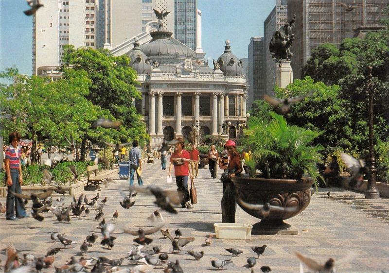 BT13185 Rio de Janeiro praca floriano com teatro municipal         Brazil