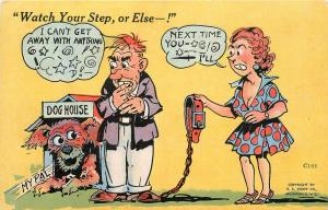 Comic Postcard Watch your step or else E C Kropp In the dog house