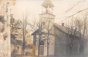 Ohio Postcard Real Photo RPPC 1907 HERRING CHurch Building Bell Tower LIMA