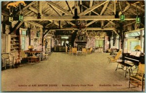 Nashville, Indiana Postcard Interior of ABE MARTIN LODGE Hand-Colored Unused