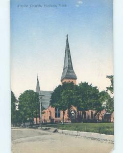 Chipped Divided-Back CHURCH SCENE Hudson Massachusetts MA A9675