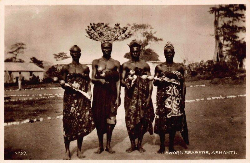 Ghana Gold Coast natives Sword Bearers Ashanti Postcard