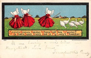 Goosey, Goosey, Gander Girls with geese Sun Bonnet 1908