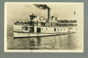 New York NY RP c1920s STEAMER HOOK MOUNTAIN Steamboat STATUE OF LIBERTY Ferry