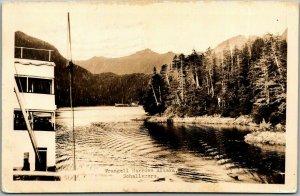 1940 Wrangell, Alaska RPPC Postcard Narrows Riverboat Scene Schallerers Photo