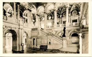 DC - Washington. Library of Congress, Main Stair Hall - RPPC
