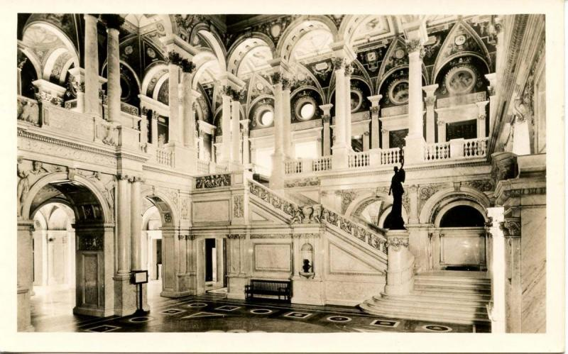 DC - Washington. Library of Congress, Main Stair Hall - RPPC
