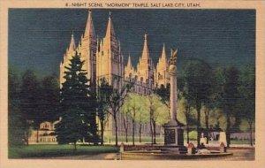 Night Scene Mormon Temple Salt Lake City Utah