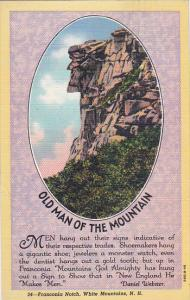New Hampshire White Mountains Franconia Notch Old Man Of The Mountain 1946 Cu...