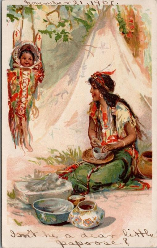 Mother and Child Native American Indians Indigenous People c1907 Postcard E36