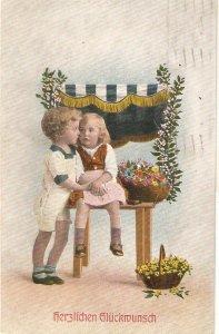 Children. Little boy and girl talking. Flowers Old vintage German Greetings PC