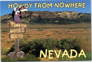 postcard Howdy from Nowhere Nevada - buzzard sitting on signpost
