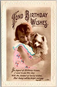 1910s FOND BIRTHDAY WISHES Embossed Greetings Postcard Girl w/ Little Dog