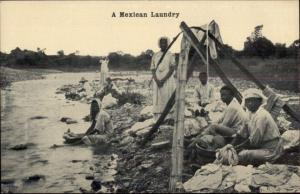 Mexico - Native Mexican Women Laundry at River c1910 Postcard