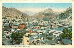 Bisbee Arizona View from School Birdseye View 1920s Postcard Teich 8237