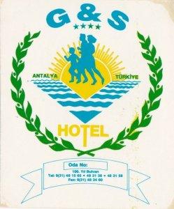 Turkey Antalya G & S Hotel Vintage Luggage Label sk1235