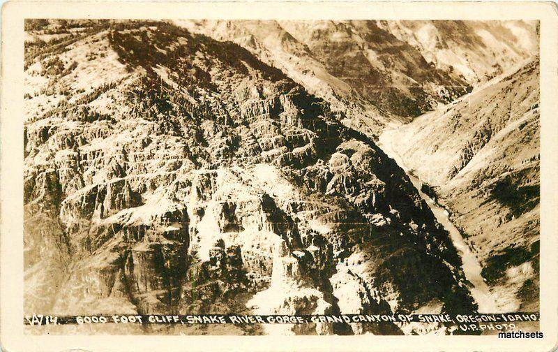 1920s Oregon Idaho 6000 Cliff Snake River Gorge Grand Canyon RPPC 8515