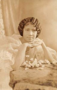 Philippines Woman in White Real Photo Vintage Postcard JE229707