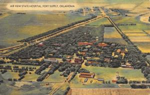 Fort Supply Oklahoma~Airplane View~State Hospital Insane Asylum~Linen 1940s PC