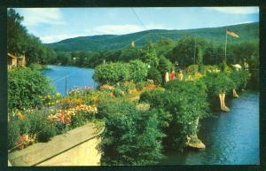Bridge of Flowers SHELBURNE FALLS Massachusetts Trolley American Flag Postcard