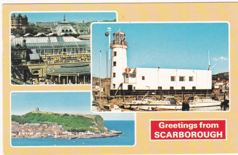Postcard Yorkshire Scarborough Greetings from Scarborough 3 views