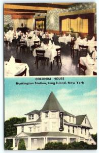 Postcard NY LI Long Island Huntington Colonial House Restaurant Lounge F07