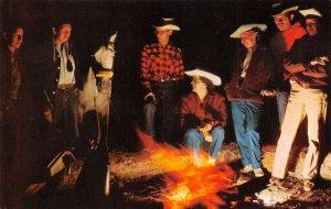 Campfire Scene Cowboys & Indians New Mexico Vintage Postcard ca 1950s