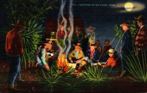Texas Cowboys Around Campfire Nighttime On The Range