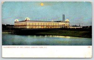 Asbury Park New Jersey~Night Lights~Casino Illuminated~Full Moon~1905 Postcard